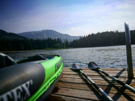 Taking A Rest Whilst Paddling Out On Lost Lake in Whistler